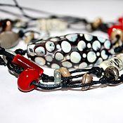 Украшения ручной работы. Ярмарка Мастеров - ручная работа Длинное колье на вощеном шнуре, лэмпворк. Handmade.