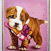 Для дома и интерьера ручной работы. Ярмарка Мастеров - ручная работа Заботливый щенок Досочка разделочная. Handmade.