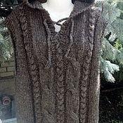 Одежда ручной работы. Ярмарка Мастеров - ручная работа Жилет с капюшоном из натуральной овечьей шерсти. Handmade.