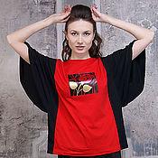 Одежда handmade. Livemaster - original item Red rose women`s t-shirt, black oversize t-shirt, sport chic. Handmade.
