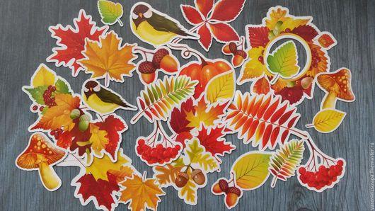 """Открытки и скрапбукинг ручной работы. Ярмарка Мастеров - ручная работа. Купить Набор высечек """"Осень"""". Handmade. Рыжий, Рябина, желуди"""
