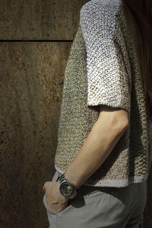 Кофты и свитера ручной работы. Ярмарка Мастеров - ручная работа. Купить трехцветный летний свитшот. Handmade. Комбинированный, yana knitwear