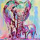 """Животные ручной работы. Ярмарка Мастеров - ручная работа. Купить Картина со слонами """"Нежность"""" (холст, масло). Handmade. Брусничный"""