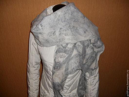 Шарфы и шарфики ручной работы. Ярмарка Мастеров - ручная работа. Купить шарф валяный Серые нити дождя. Handmade. Серый