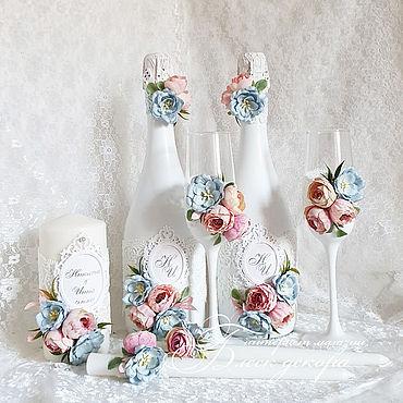 Свадебный салон ручной работы. Ярмарка Мастеров - ручная работа Голубой с розовым набор аксессуаров. Handmade.