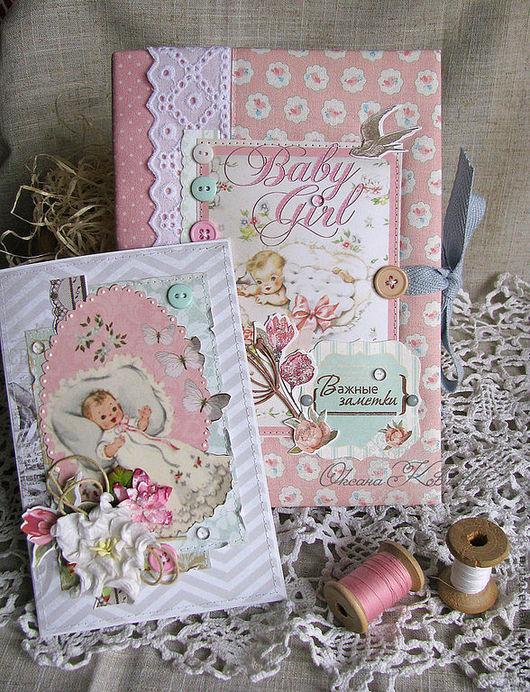 """Блокноты ручной работы. Ярмарка Мастеров - ручная работа. Купить Блокнот  """"Baby girl"""". Handmade. Бледно-розовый, новорожденной, вырубки"""