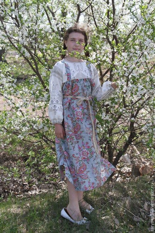 """Одежда для девочек, ручной работы. Ярмарка Мастеров - ручная работа. Купить Детское платье-сарафан с тканью """"Макошь"""" на груди и рукавах. Handmade."""