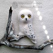 Куклы и игрушки handmade. Livemaster - original item Brooch Owl polar white felted wool. Handmade.
