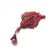 Украшения handmade. Livemaster - original item Decoration - pendant Red feather with fringe Natural tourmaline. Handmade.