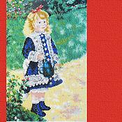 Картины ручной работы. Ярмарка Мастеров - ручная работа Картина Девочка с лейкой, вышитая крестом репродукция Ренуара. Handmade.