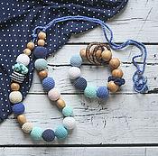 Одежда handmade. Livemaster - original item Slingobusy and teether set of juniper in shades of blue. Handmade.