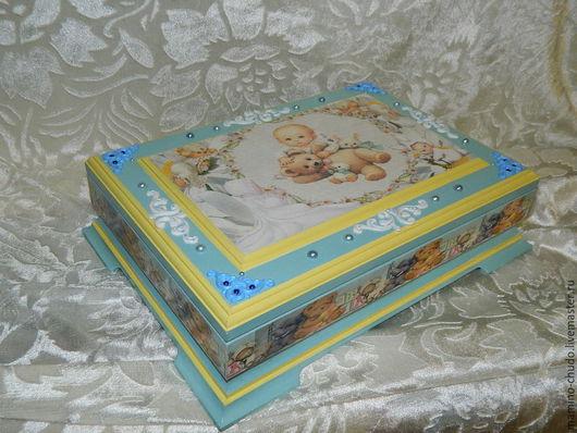 Подарки для новорожденных, ручной работы. Ярмарка Мастеров - ручная работа. Купить Мамины сокровища - Ангелочек. Handmade. Шкатулка, на выписку из роддома