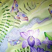 """Аксессуары ручной работы. Ярмарка Мастеров - ручная работа Палантин шелковый  батик """"Орхидеи"""". Handmade."""