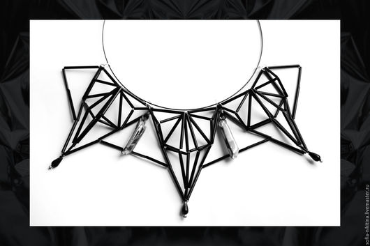 """Колье, бусы ручной работы. Ярмарка Мастеров - ручная работа. Купить Колье """"Geometrica -2"""". Handmade. Чёрно-белый, колье"""