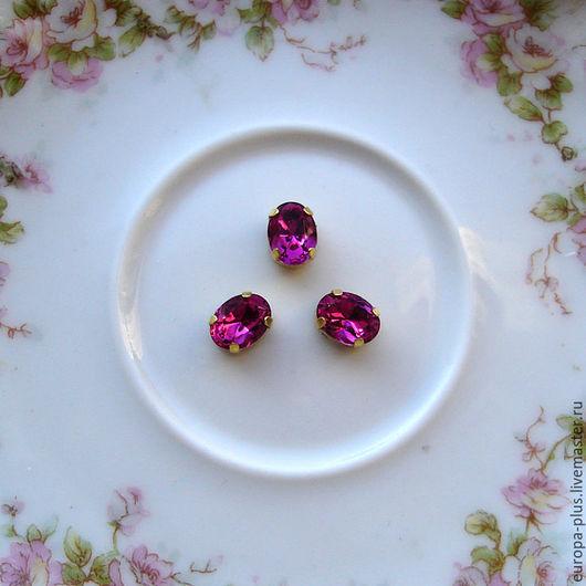 Для украшений ручной работы. Ярмарка Мастеров - ручная работа. Купить Винтажные кристаллы 8х6 мм - Fuchsia. Handmade. Фуксия