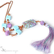 Украшения handmade. Livemaster - original item With pendant Riviera with brush lampwork beads turquoise purple copper. Handmade.