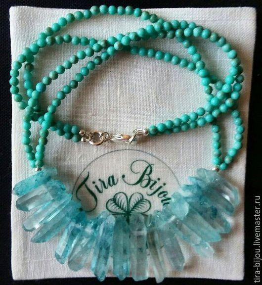 Колье, бусы ручной работы. Ярмарка Мастеров - ручная работа. Купить Ожерелье из бирюзы с кристаллами. Handmade. Бирюзовый, бусы