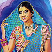 Картины и панно handmade. Livemaster - original item Indian woman painting on a lilac background in oil. Handmade.