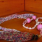 Украшения ручной работы. Ярмарка Мастеров - ручная работа многорядные бусы из бисера розовый меланж. Handmade.
