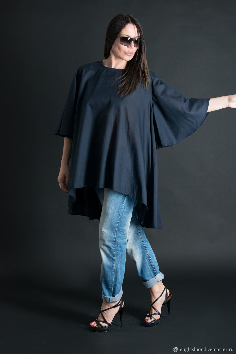 Dark blue cotton blouse - TP0093CT, Blouses, Sofia, Фото №1