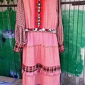 Одежда ручной работы. Ярмарка Мастеров - ручная работа Платье  розовое -бохо с длинным рукавом и оборкой. Handmade.