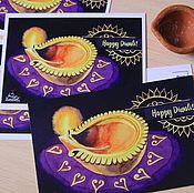 """Открытки ручной работы. Ярмарка Мастеров - ручная работа Почтовая открытка """"Дивали"""". Handmade."""