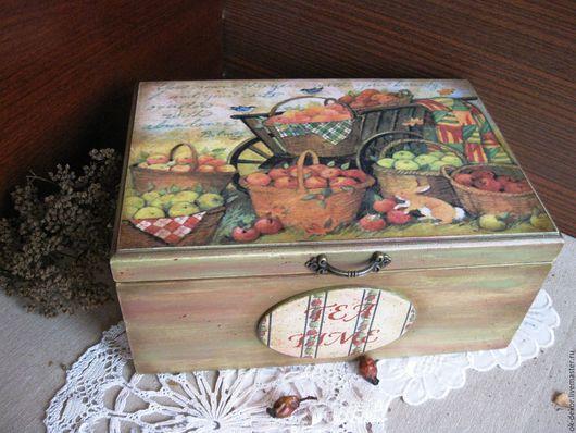 Кухня ручной работы. Ярмарка Мастеров - ручная работа. Купить Чайная шкатулка  Урожай яблок  оливковый красный. Handmade. яблоки