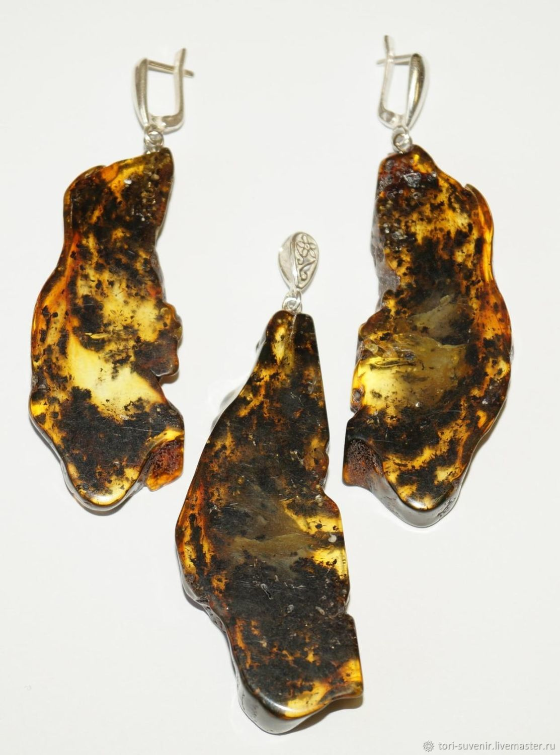 A set of slices of natural amber with inclusions, Jewelry Sets, Belokuriha,  Фото №1