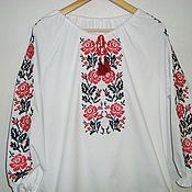 """Русский стиль ручной работы. Ярмарка Мастеров - ручная работа Женская блуза с вышивкой """"Цветущие розы"""". Handmade."""