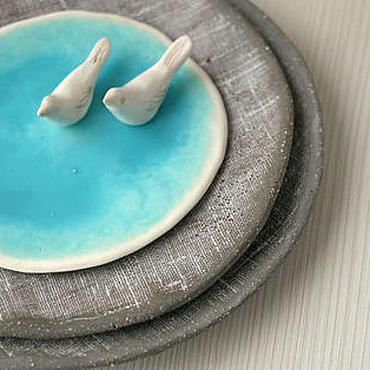 Посуда ручной работы. Ярмарка Мастеров - ручная работа Керамические тарелки Зимние мотивы. Handmade.