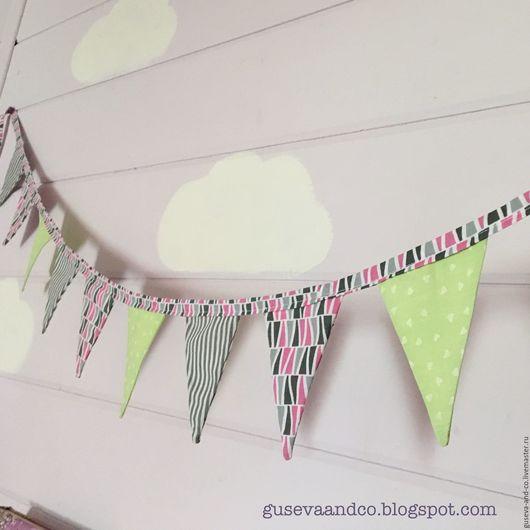 Детская ручной работы. Ярмарка Мастеров - ручная работа. Купить Флажки текстильные. Handmade. Комбинированный, полосатый, интерьерные флажки