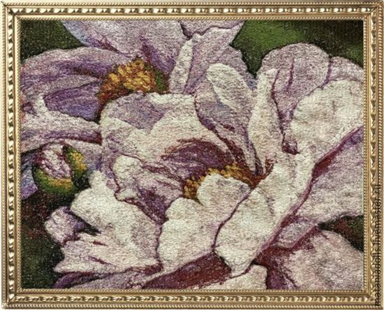 Embroidered painting 'Peonies', Pictures, Liepaja,  Фото №1