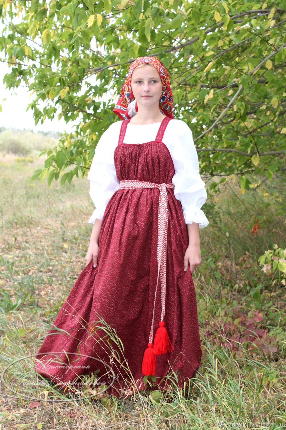 Russian sarafan and a shirt,'Cranberry', Costumes3, Borskoye,  Фото №1