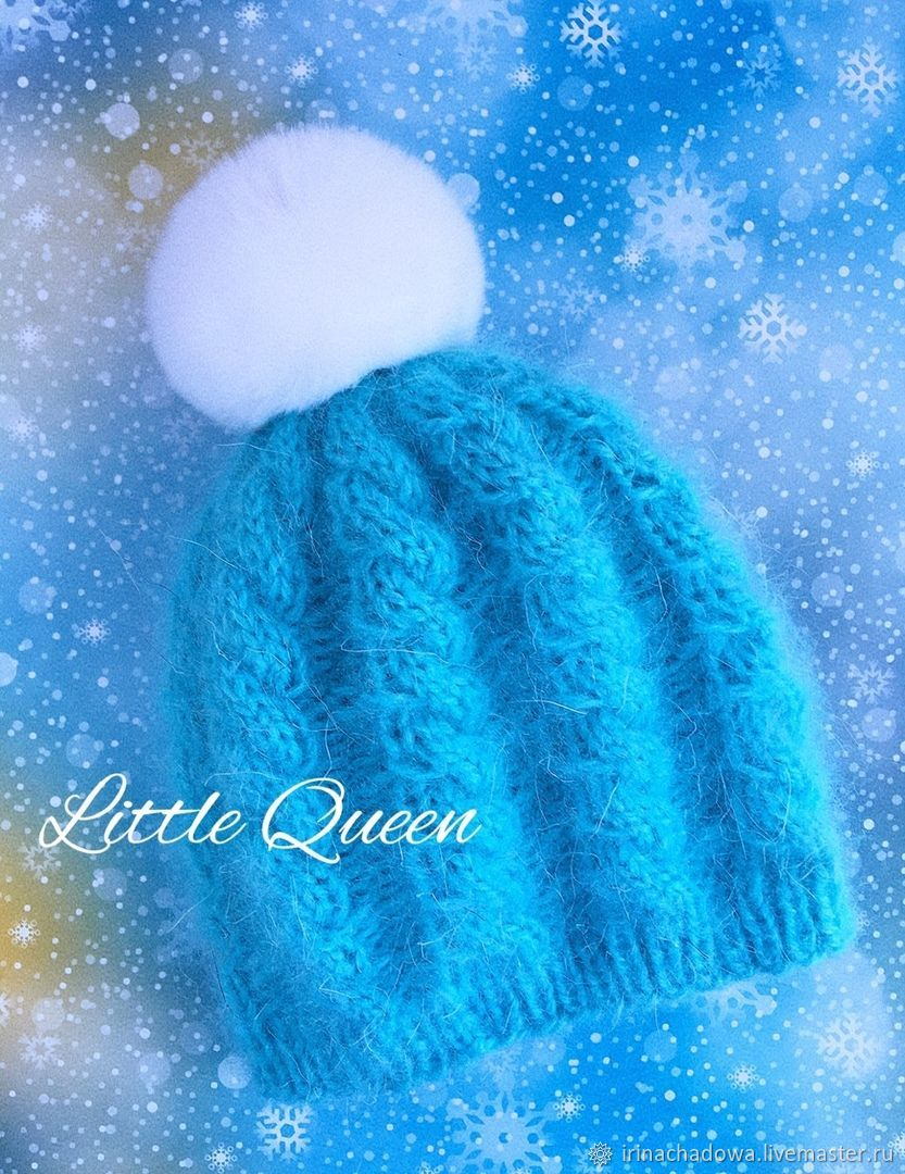 Вязаная шапочка для девочки 3-6 месяцев