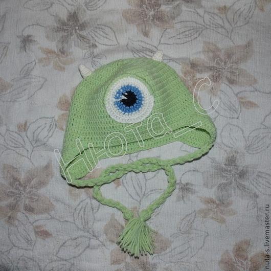 """Шапки и шарфы ручной работы. Ярмарка Мастеров - ручная работа. Купить Шапочка для мальчика """"Майк Вазовски"""". Handmade. Зеленый, для мальчика"""