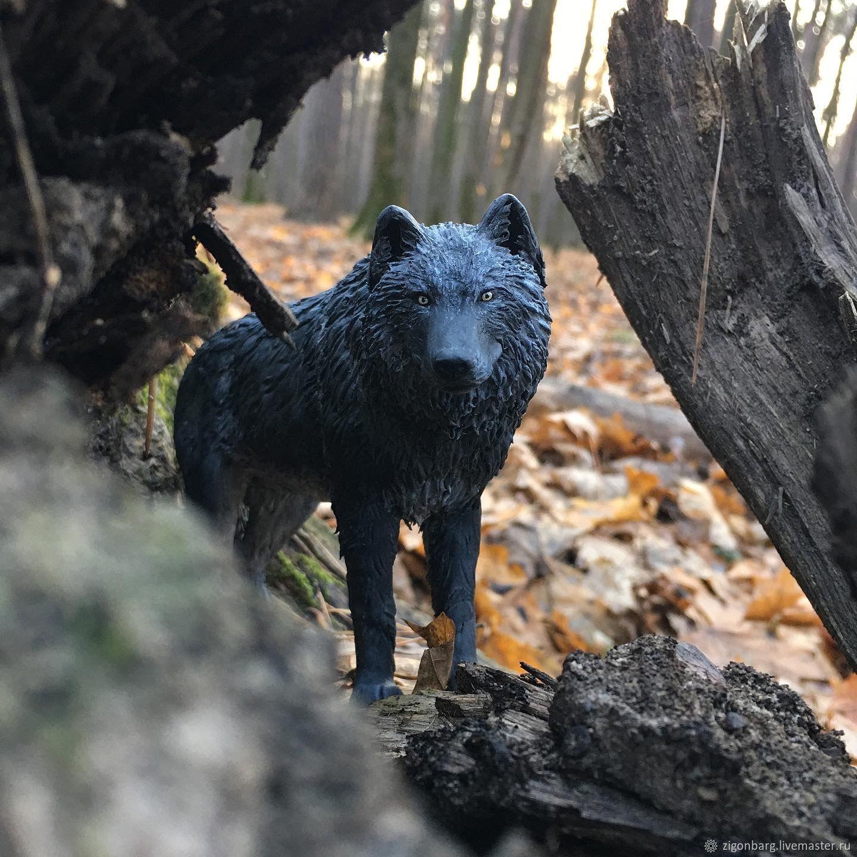 Чёрный канадский волк, Мини фигурки и статуэтки, Москва,  Фото №1