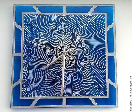 Часы для дома ручной работы. Ярмарка Мастеров - ручная работа. Купить Часы настенные «Голубая лагуна-2». Handmade. роспись