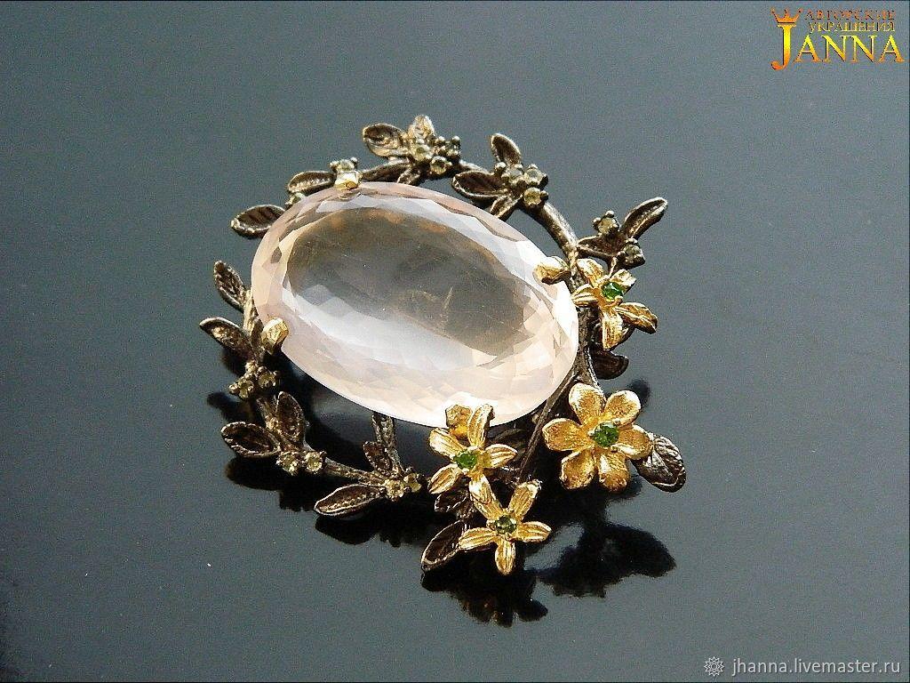 Rose quartz. ' Pleasure' brooch with rose quartz, Brooches, Volgograd,  Фото №1