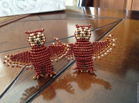 Миниатюрные модели ручной работы. Ярмарка Мастеров - ручная работа. Купить Сова из бисера. Handmade. Подарок, игрушка, символ, детям