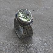 Украшения handmade. Livemaster - original item Beryl ring, silver and brass. Handmade.
