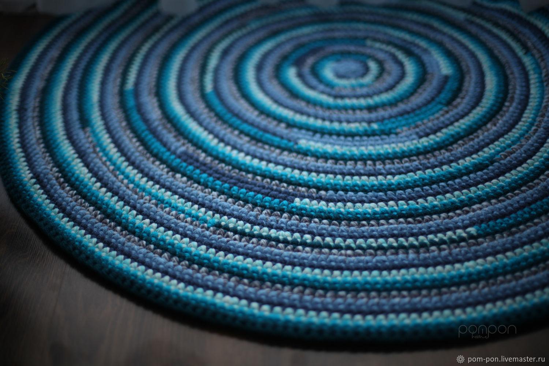 Круглый ковер синий голубой бирюзовый BABUSHKA_blue, Ковры, Волгоград,  Фото №1