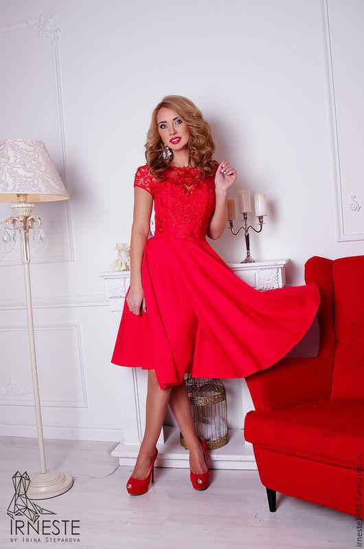"""Платья ручной работы. Ярмарка Мастеров - ручная работа. Купить Коктейльное платье """"Аллегрия"""". Handmade. Ярко-красный, Коктейльное платье"""