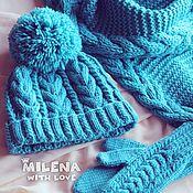 Аксессуары handmade. Livemaster - original item Set knitted Dusty Turquoise, hat, scarf and mittens.. Handmade.