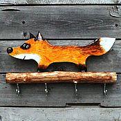 Для дома и интерьера ручной работы. Ярмарка Мастеров - ручная работа Лиса. Ключница настенная с крючками лиса. Handmade.