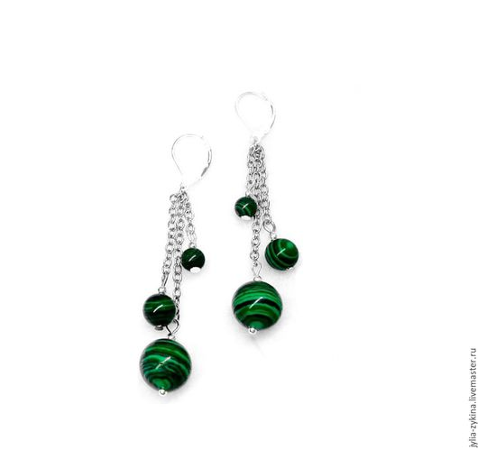 Серьги из малахита, длина серьги - 6 см. швензы серьги - серебро 925 пробы (часть серьги, которая вдевается в ухо). серьги - замечательный подарок на любой праздник! Серьги зеленые