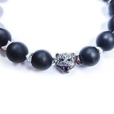 Decorations handmade. Livemaster - original item Tiger bracelet with red sapphire and crystals. Handmade.