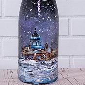 Подарки к праздникам handmade. Livemaster - original item Gift bottle with painting of the Kazan Cathedral. Handmade.