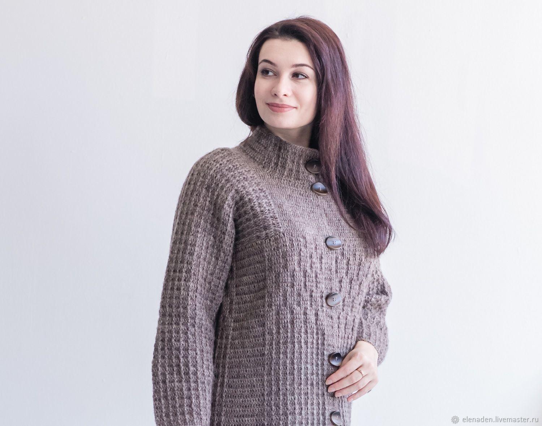 """Пальто вязаное """"Горожанка 1"""" коричневое, Пальто, Северск,  Фото №1"""
