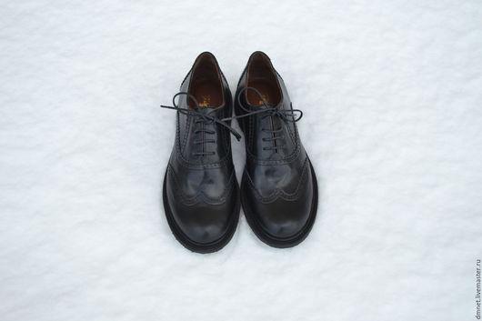 Обувь ручной работы. Ярмарка Мастеров - ручная работа. Купить Женский оксфорд черного цвета. Handmade. Черный, ручная работа