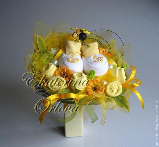 Подарки для новорожденных, ручной работы. Ярмарка Мастеров - ручная работа. Купить Солнышко моё... (букет из детской одежды). Handmade. Желтый